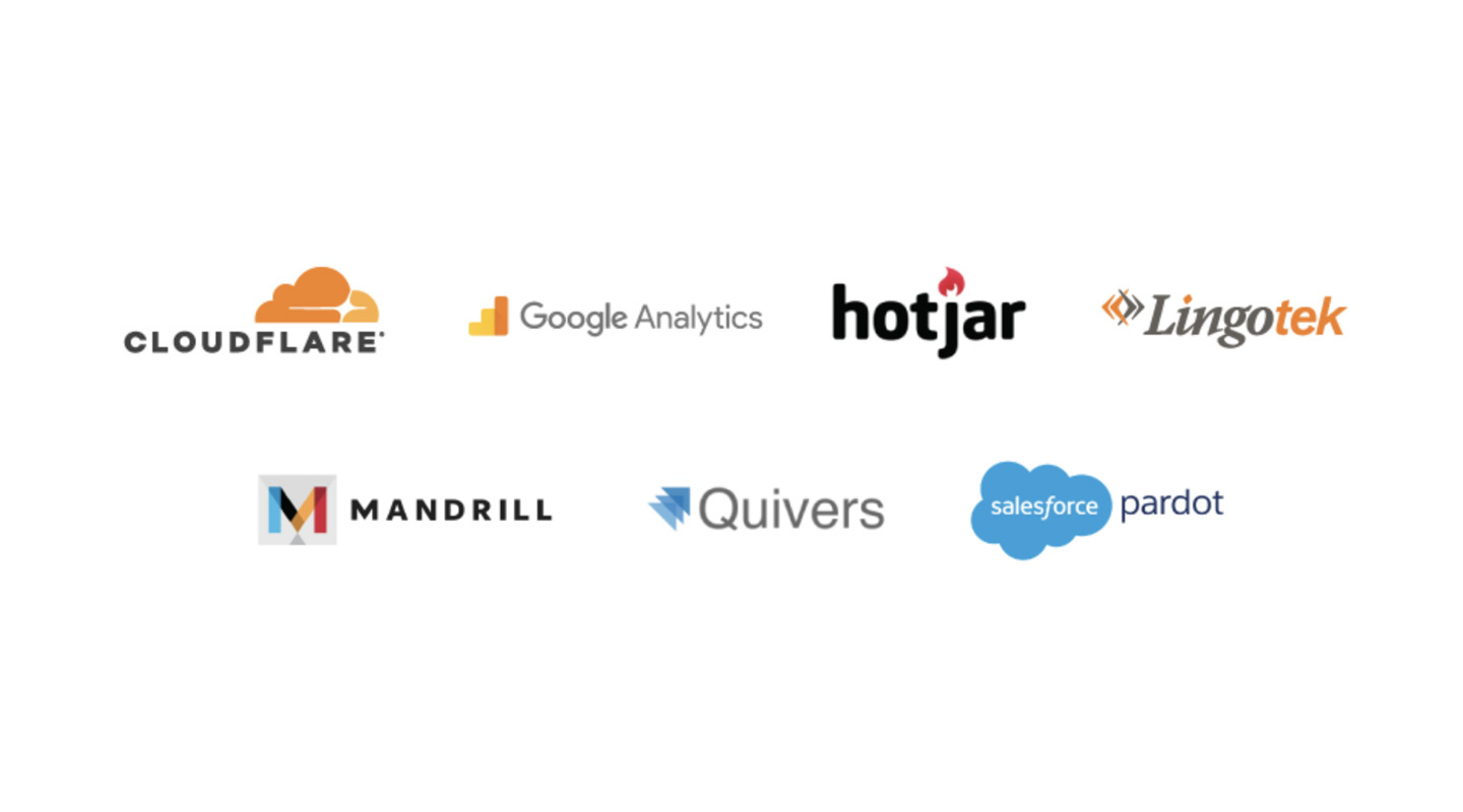 Cloudflare, Google Analytics, Hotjar, Lingotek, Mandrill, Quivers, Salesforce Pardot, and more