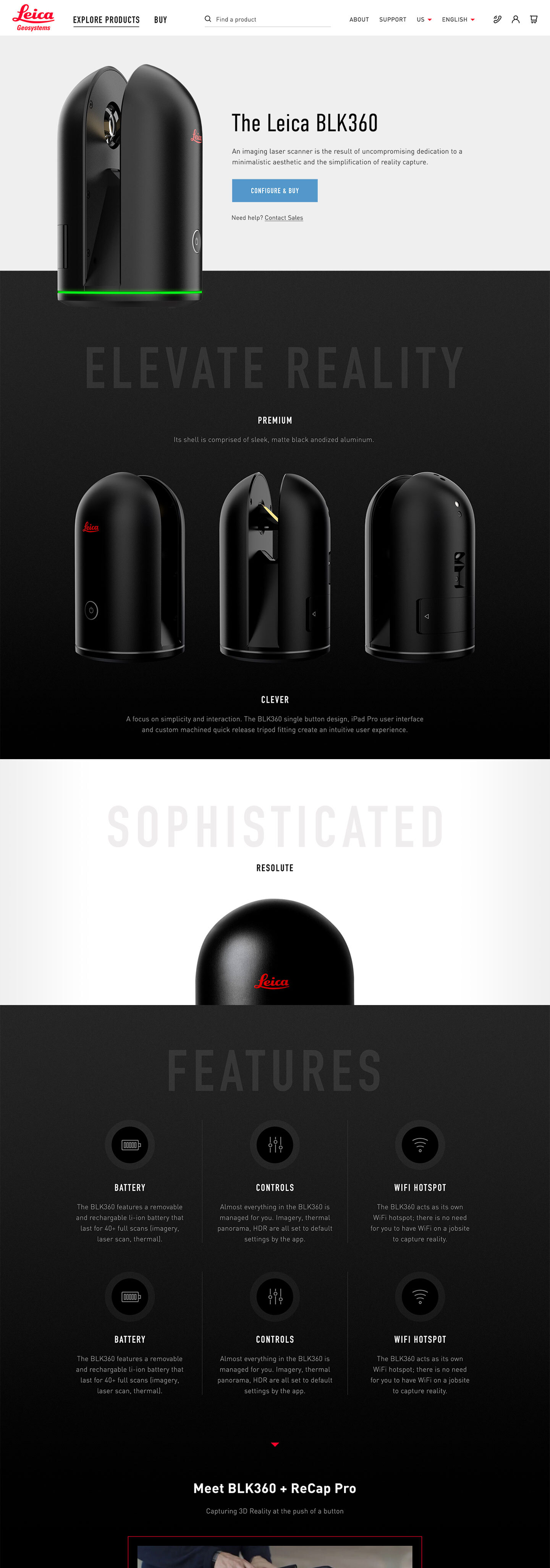 The Leica BLK Explore page design