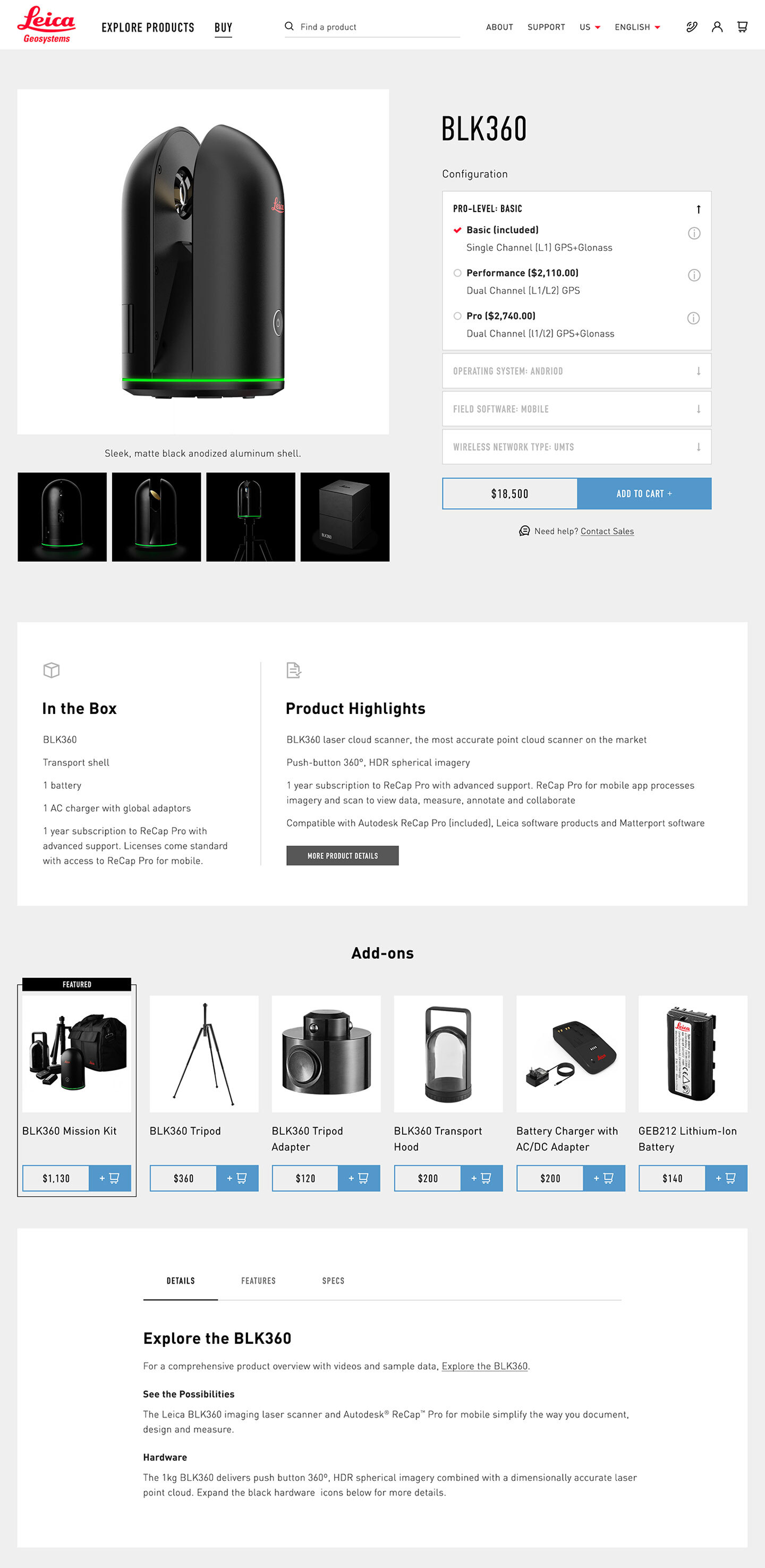 The Leica BLK Shop page design