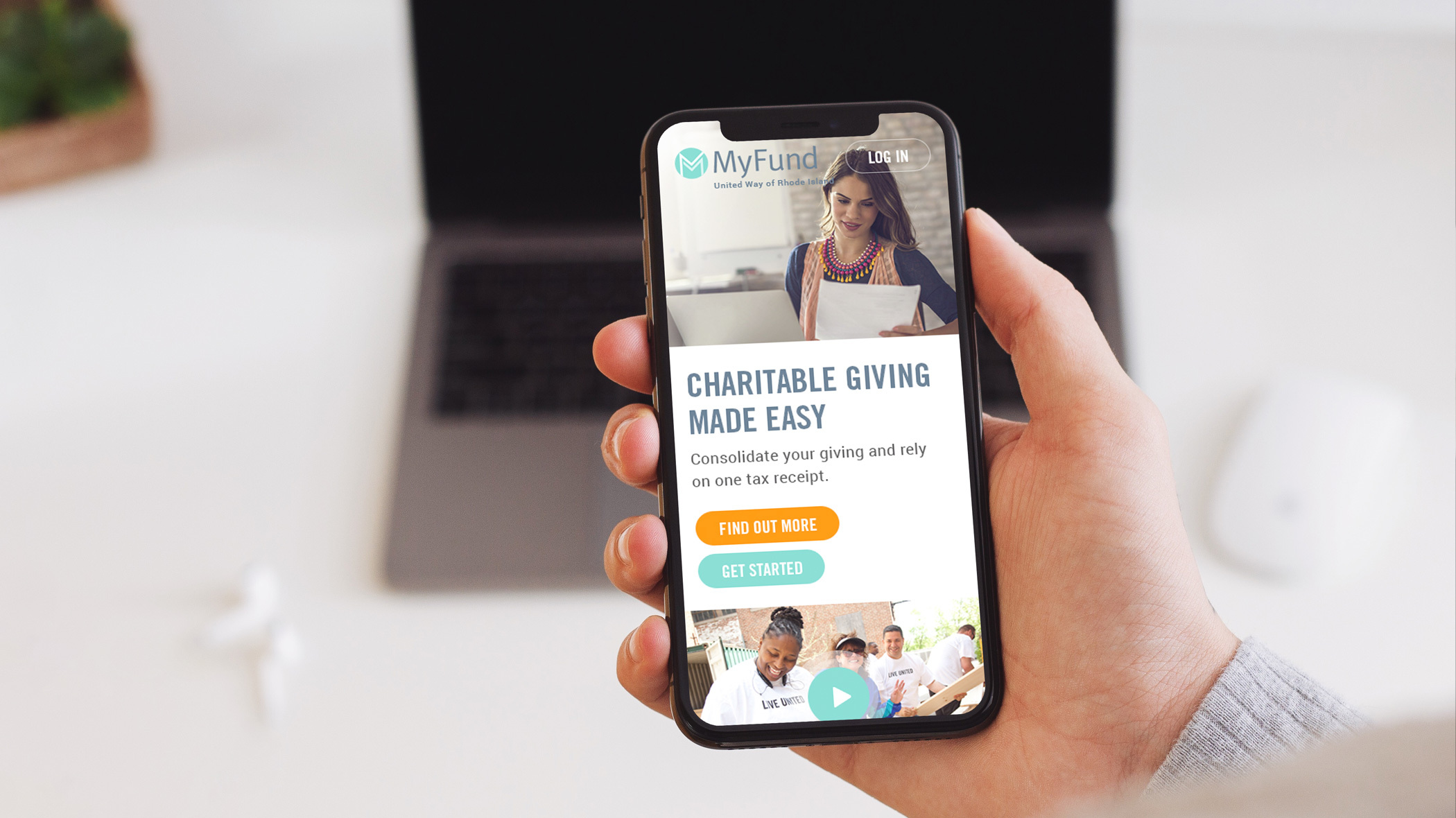 The MyFund marketing site visible on someone's phone